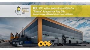 ODE Yalıtım Dergisinin 2017 Yalıtım Sektörü Başarı Ödüllerinde Yatırım Kategorisinde Aday Oldu