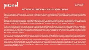 TÜRKONFED Demokrasi ve Ekonomi İçin Uzlaşma Zamanı
