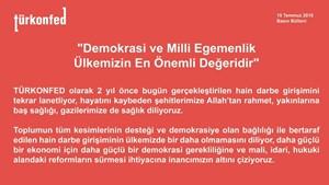 TÜRKONFED Demokrasi ve Milli Egemenlik Ülkemizin En Önemli Değeridir