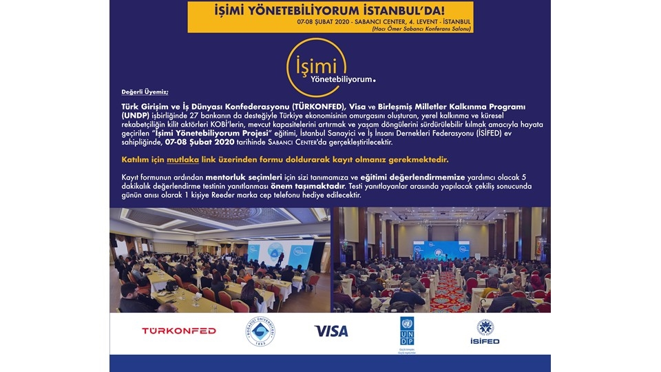 İşimi Yönetebiliyorum Eğitimi 7-8 Şubat'ta İstanbul'da!