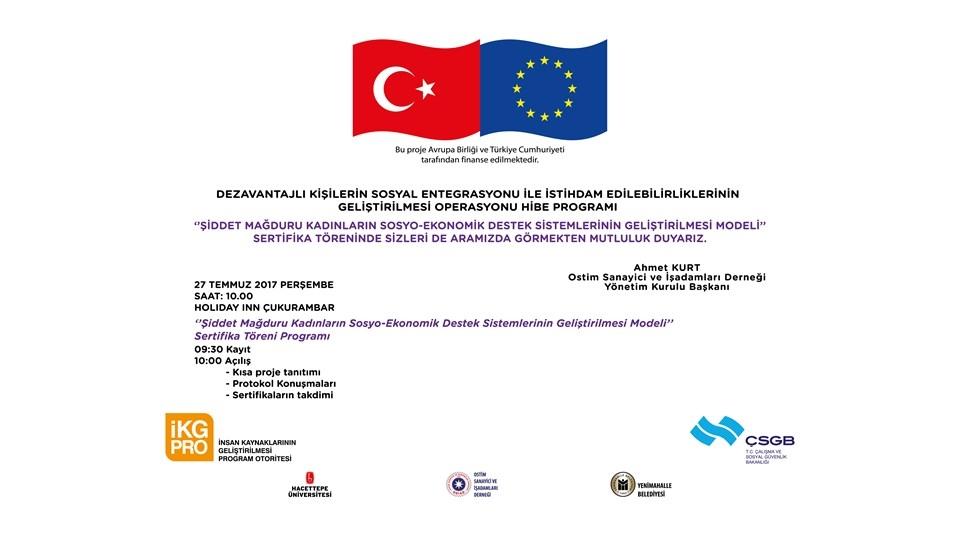 Şiddet Mağduru Kadınlar için Geliştirilen Projenin Sertifika Töreni Ankara'da Düzenleniyor
