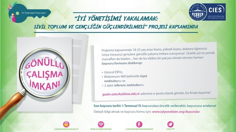 Türkiye'nin Önde Gelen STK'larında Gönüllü Çalışma İmkanı