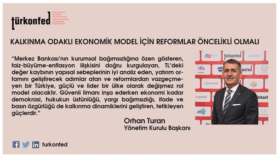 """TÜRKONFED Başkanı Turan: """"Kalkınma Odaklı Ekonomik Model İçin Reformlar Öncelikli Olmalı"""""""