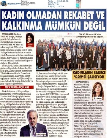 1 DİKAD Ekonomi ve Kadın Zirvesi Medya Yansımaları 1 Kasım 2018  Diyarbakır