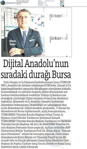Dijital Anadolu Toplantısı Medya Yansımaları  13 Kasım   Bursa