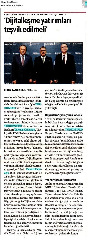Dijital Anadolu Toplantısı Medya Yansımaları 1 Mart 2018  Antalya