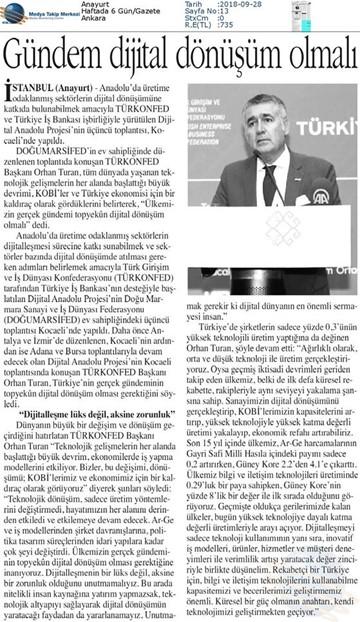 Dijital Anadolu Toplantısı Medya Yansımaları 26 Eylül 2018  Kocaeli