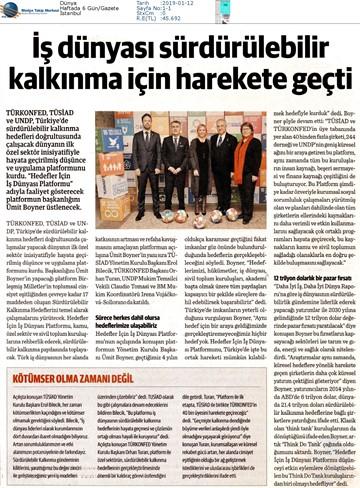 Hedefler İçin İş Dünyası Platformu Medya Yansımaları - 11 Ocak 2019  İstanbul