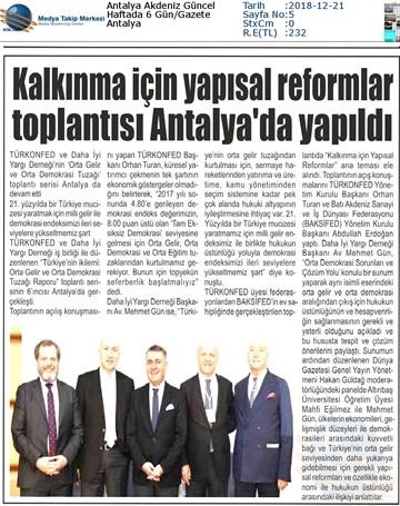 Kalkınma için Yapısal Reformlar Toplantısı Medya Yansımaları - 19 Aralık 2018  Antalya