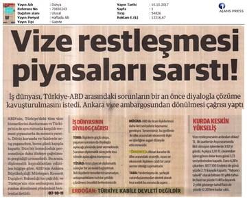 Türkiye-ABD Vize Sorunu Basın Açıklaması Medya Yansımaları  10 Ekim 2017