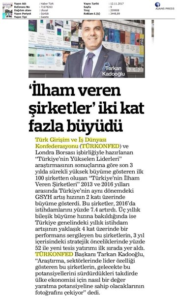 Türkiyenin Yükselen Liderleri Raporu Medya Yansımaları  12 Kasım 2017-İstanbul