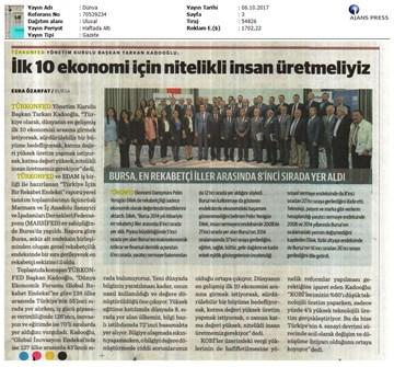 TÜRKONFED-MARSİFED Türkiye İçin Bir Rekabet Endeksi Raporu Bursa Toplantısı-Medya Yansımaları  3 Ekim 2017