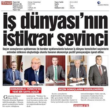 TÜRKONFED 1 Kasım Seçimleri Açıklaması Yerel Gazetelerde Yansımalar