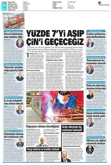 TÜRKONFED 2 Çeyrek Ekonomik Büyüme Basın Bülteni Medya Yansımaları12 Eylül 2017-İstanbul