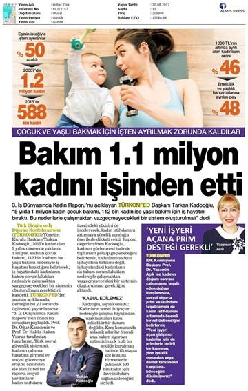 TÜRKONFED 3 İş Dünyasında Kadın Raporu II Faz Basın Bülteni Medya Yansımaları  20 Ağustos 2017