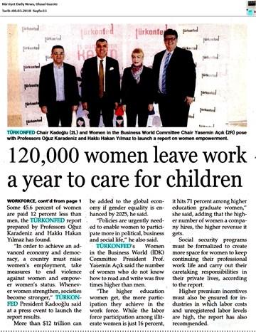 TÜRKONFED 3 İş Dünyasında Kadın Raporu Medya Yansımaları 7 Mart 2018