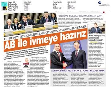 TÜRKONFED Başkanı Kadooğlu Türkiye-AB Ekonomi Diyalog Toplantısı Medya Yansımaları  8 Aralık 2017