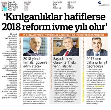 TÜRKONFED Başkanı Kadooğlunun 2017-2018 Ekonomi Değerlendirmesi Medya Yansımaları  18 Aralık 2017