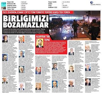 TÜRKONFED Beşiktaş Terör Saldırısı Basın Açıklaması Yansımaları-12122016