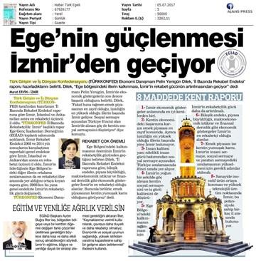 TÜRKONFED EGİAD İzmir Rekabet Endeksi Toplantısı - Son Medya Yansımaları  5 Temmuz 2017