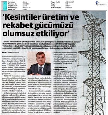 TÜRKONFED-Elektrik Kesintileri Basın Açıklaması Medya Yansımaları-5 Ocak 2017