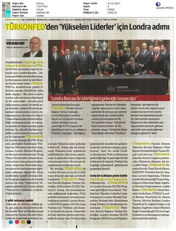 TÜRKONFED-ELITE Programı Türkiyenin Yükselen Liderleri Raporu Londra Borsası Tanıtımı  14 Aralık 2017