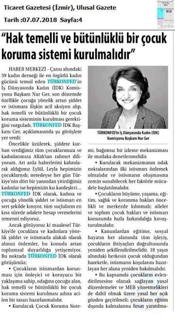 TÜRKONFED İDK Başkanı Nur Ger den Çocuk İstismarı ve Şiddetine Yönelik Açıklama  07 Temmuz 2018