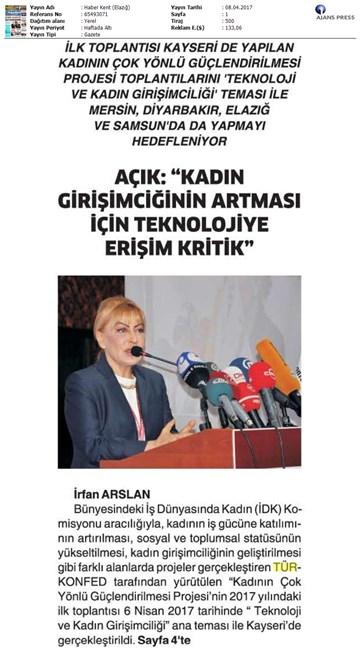 TÜRKONFED İDK Kadının Çok Yönlü Güçlendirilmesi Projesi Kayseri Toplantısı Medya Yansımaları-2  8-9 Nisan 2017