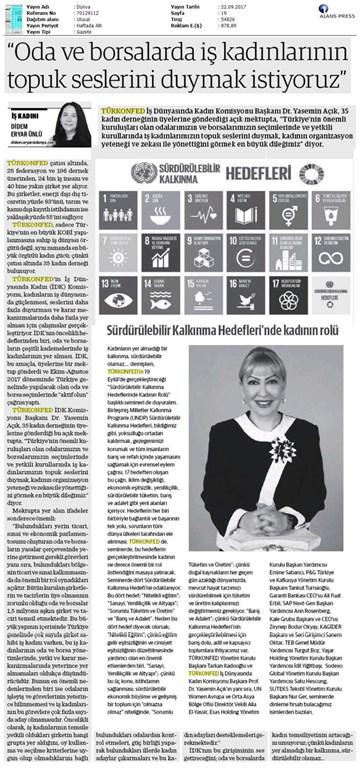 TÜRKONFED İDKdan İş Kadınlarına Çağrı Basın Bülteni Medya Yansımaları-21 Eylül 2017  İstanbul