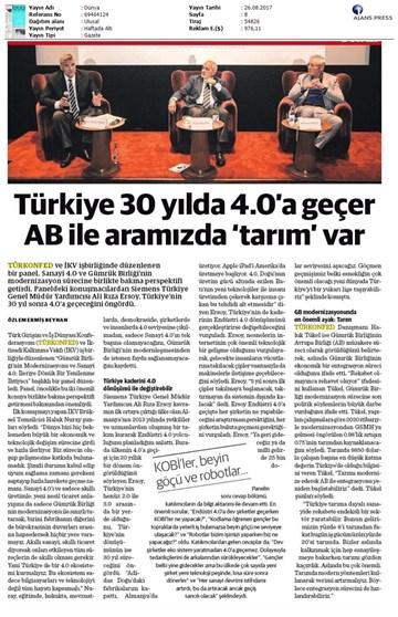 TÜRKONFED-İKV Gümrük Birliği Sohbetleri Medya Yansımaları-24 Ağustos 2017  İstanbul