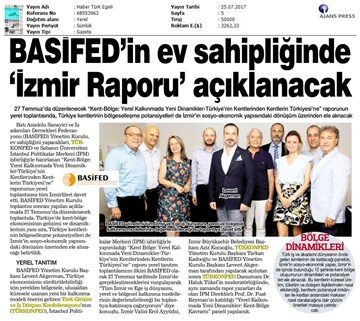 TÜRKONFED- İzmir Kent-Bölge Raporu Tanıtım Toplantısı  BASİFED  25 Temmuz 2017