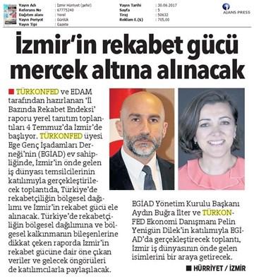 TÜRKONFED-İzmir Rekabet Endeksi Toplantısı  Ön Basın Yansımaları-30 Haziran 2017