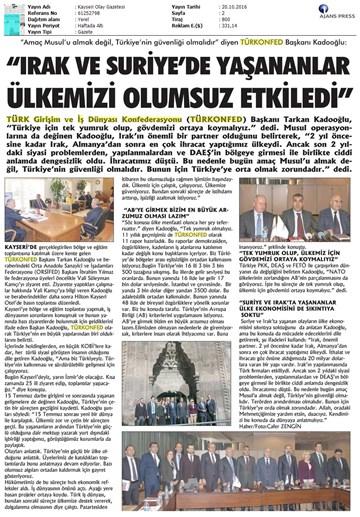 TÜRKONFED KSS Anadolu Toplantıları  Kayseri-19 Ekim 2016