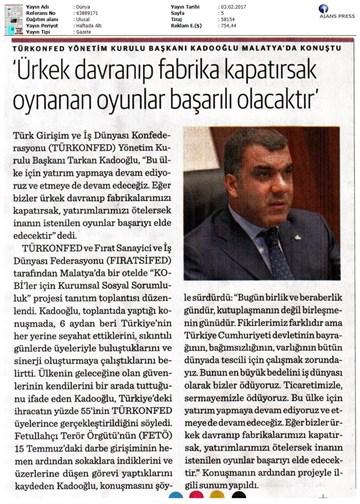 TÜRKONFED KSS Malatya Çalıştayı Medya Yansımaları-02022017