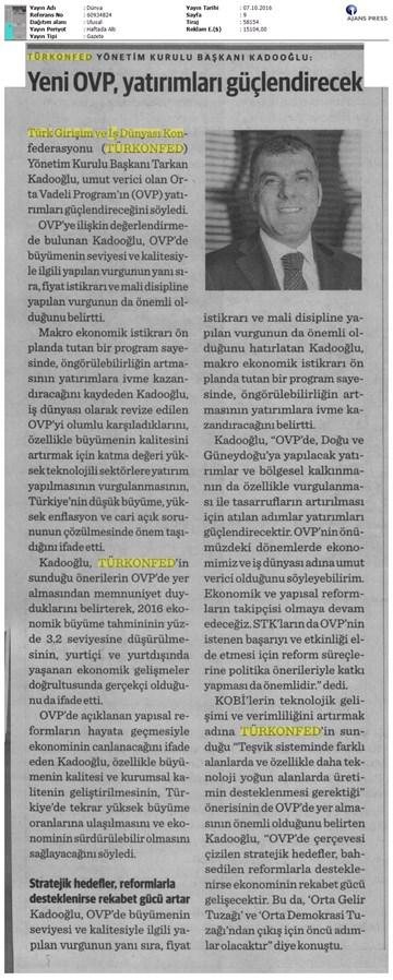 TÜRKONFED OVP Basın Açıklaması Medya Yansımaları-7 Ekim 2016