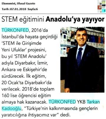 TÜRKONFED STEM Eğitimini Anadoluya Yayıyor Medya Yansımaları 6 Ocak 2018