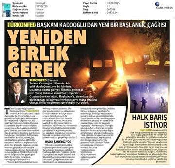 TÜRKONFED Terör Olaylarına İlişkin Açıklamaları  Basın Yansımaları