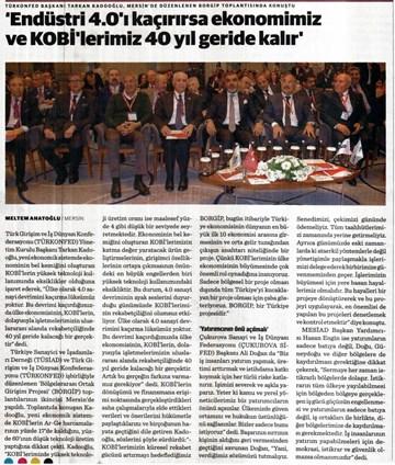 TÜRKONFED-TÜSİAD BORGİP Mersin Toplantısı Basın Yansımaları 1  28 Mart-3 Nisan 2017