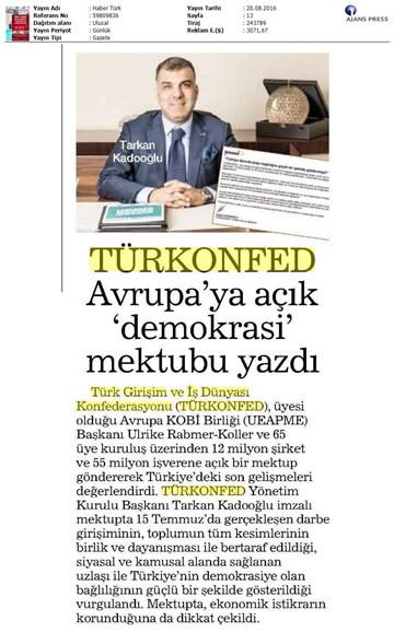TÜRKONFED-UEAPME  Avrupaya Açık Mektup-19 Ağustos 2016