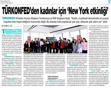 TÜRKONFED - UN Women WEPs Hareketi Bilgi Aktarımı ve Network Etkinliği Medya Yansımaları 14 Mart 2018  New York
