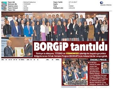 TÜRKONFED ve TÜSİAD BORGİP Adana Toplantısı Ön Medya Yansımaları  30 Kasım-5 Aralık 2017
