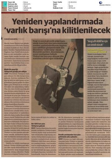 TÜRKONFED - Vergi Affı Meselesi 3 Ağustos 2016