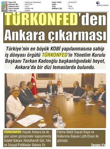TÜRKONFED Yönetim Kurulu Ankara Temasları Medya Yansımaları-23-24 Ağustos 2017  Ankara