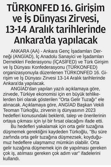 TÜRKONFEDden 16 Girişim ve İş Dünyası Zirvesi  Ankara