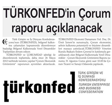 TÜRKONFEDin Çorum Raporu