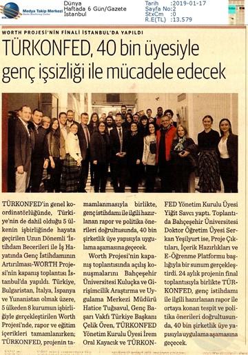 WORTH Projesi Kapanış Toplantısı Medya Yansımaları - 16 Ocak 2019  İstanbul