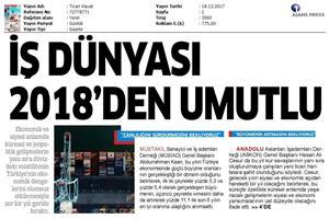 TÜRKONFED Başkanı Kadooğlu'nun 2017-2018 Ekonomi Değerlendirmesi Medya Yansımaları / 18 Aralık 2017
