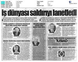 TÜRKONFED Beşiktaş Terör Saldırısı Basın Açıklaması Yansımaları-12.12.2016