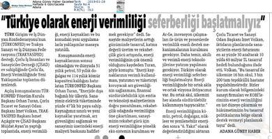 TÜRKONFED Enerji Verimliliğine Yeni Yaklaşımlar Toplantısı Medya Yansımaları - 25 Ocak 2019 / Çorlu
