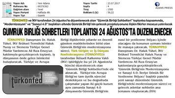 TÜRKONFED-İKV Gümrük Birliği Sohbetleri Medya Yansımaları-24 Ağustos 2017 / İstanbul